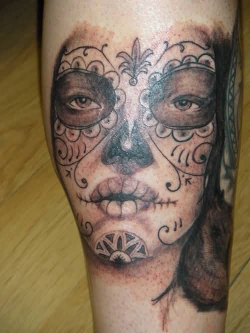 Fantastic Catrina Face Tattoo Design For Sleeve Arm