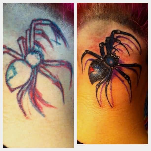 Fantastic Classy Cool Black Widow Tattoo For Girl Nop e