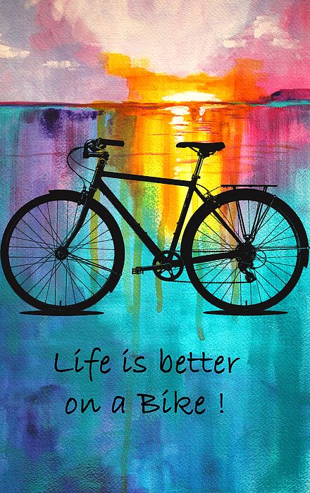 Fantastic Colorful Awesome Black Bicycle Tattoo Cycle With Quote