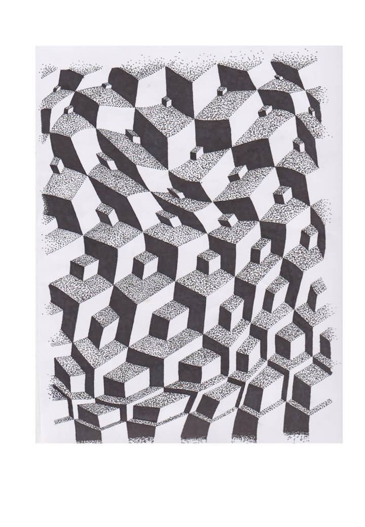 Fantastic Dotwork Nice Escher Cubes Tattoo Stencil