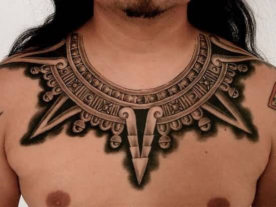 Fantastic Filipino Necklace Tattoo Design For Handsome Men