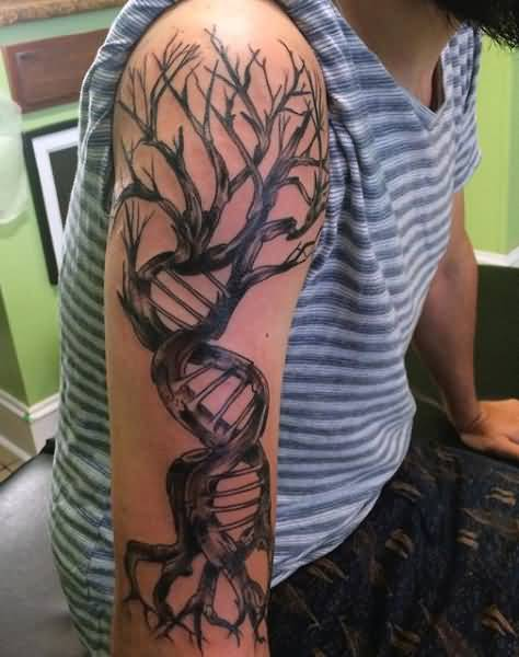 Fantastic Full Sleeve DNA Science Tree Tattoo For Men