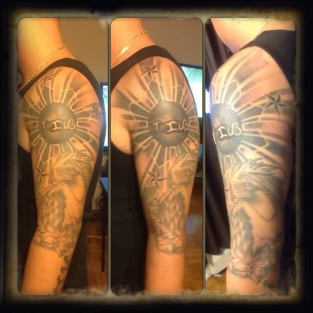 Fantastic Half Sleeve FilipinoSun Tattoo For Men