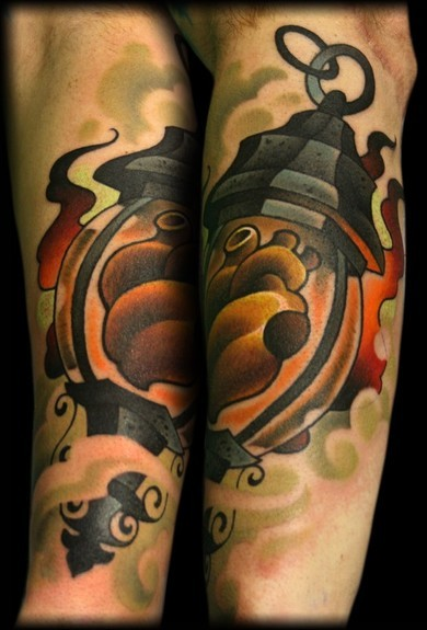 Fantastic Human Heart Lantern Tattoo