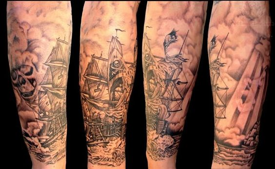Fantastic Jolly Roger Pirate Ship Tattoo