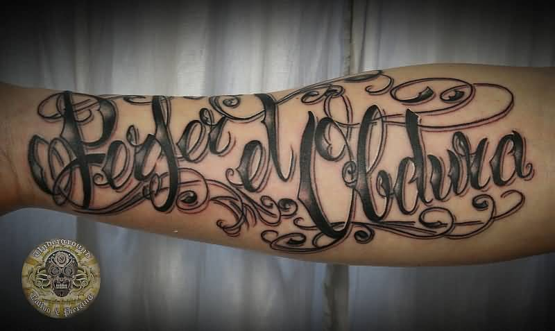 Fantastic Latino Font Amazing Latino Tattoo On Forearm Lower Sleeve