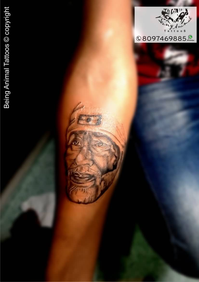 Fantastic Lower Forearm Sleeve Design With Sai Baba Tattoo