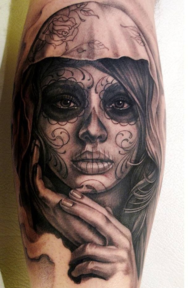 Fantastic Mask Of Nice Catrina Girl Face Tattoo On Lower Sleeve