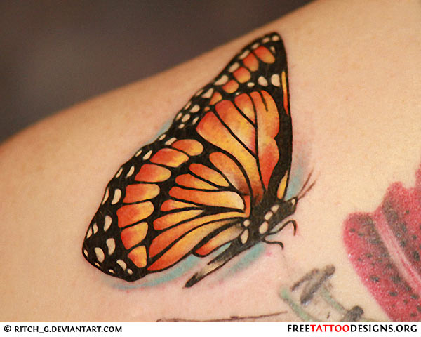 Fantastic Monarch Butterfly Tattoo On Upper Shoulder
