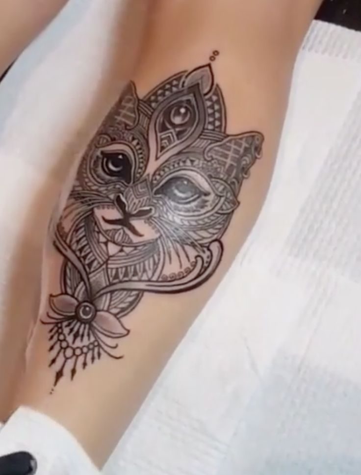 Fantastic Mosaic Tattoo Of Cat Face