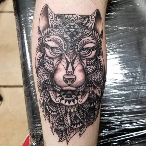 Fantastic Mosaic Wolf Face Tattoo Design Idea