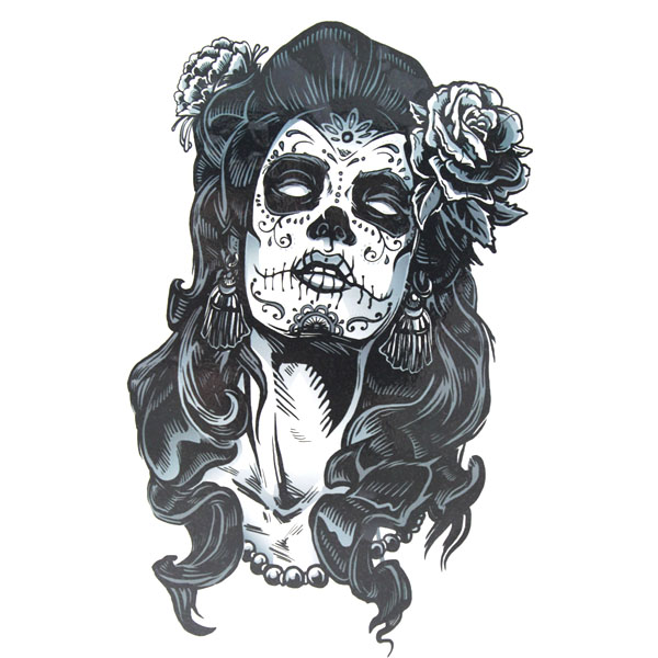 Fantastic Nice Stencil Latino Scary Face Tattoo Of Girl