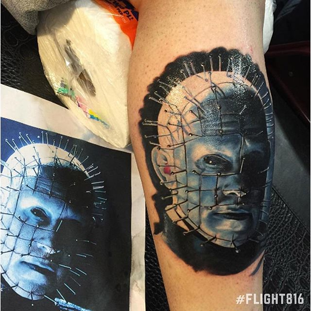 Fantastic Portrait Face Of Nice Pinhead Tattoo