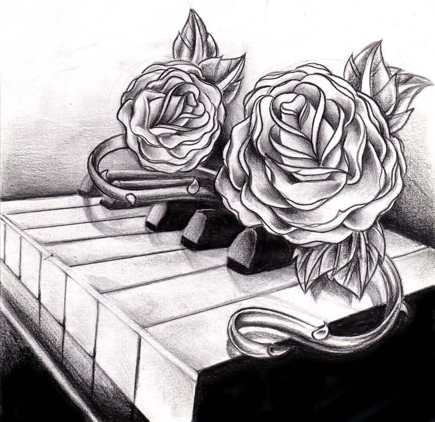 Fantastic Rose With Amazing Piano Keys Tattoo Stencil