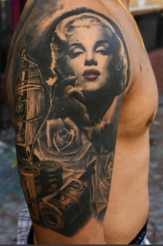 Fantastic Roses And Nice Marilyn Monroe Face Design With Cah Dollars Tattoo