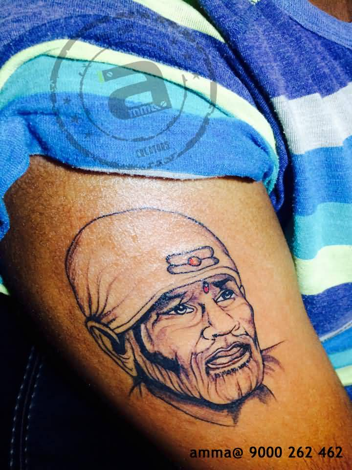 Fantastic Sai Baba God Face Tattoo