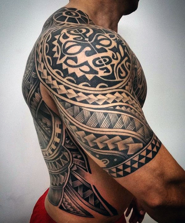 Fantastic Scarification Tribal Tattoo On Half Sleeve