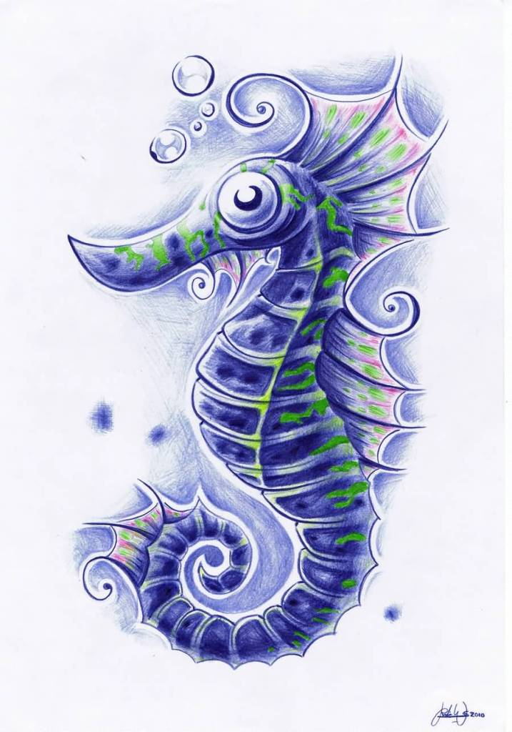 Fantastic Sea Horse Tattoo Design Stencil