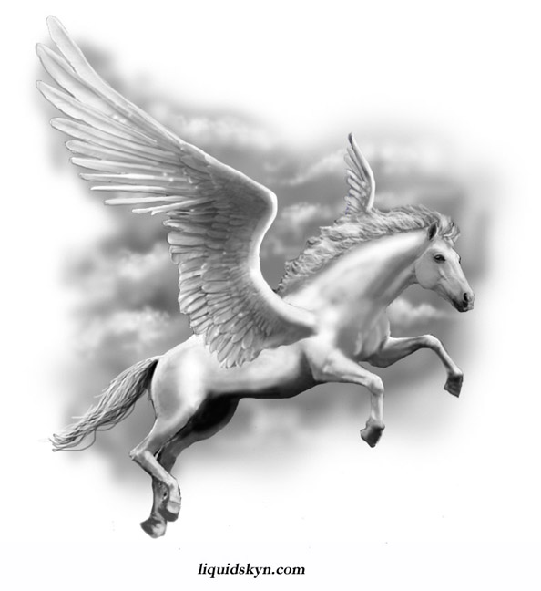 Fantastic Stencil Of Nice And Amazing Pegasus Tattoo Design Idea