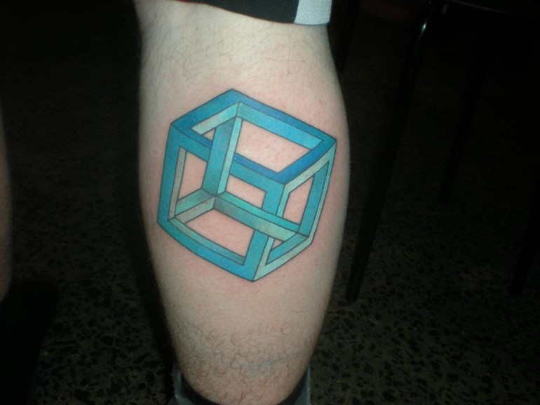 Fantastic and Nice Escher Cube Tattoo On Leg Back