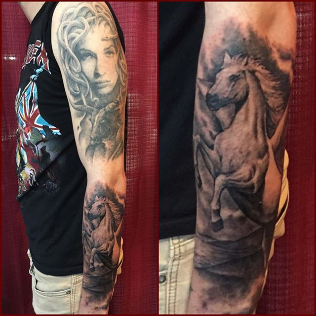 Fascinating Full Sleeve Medusa And Ultimate Flying Pegasus Tattoo