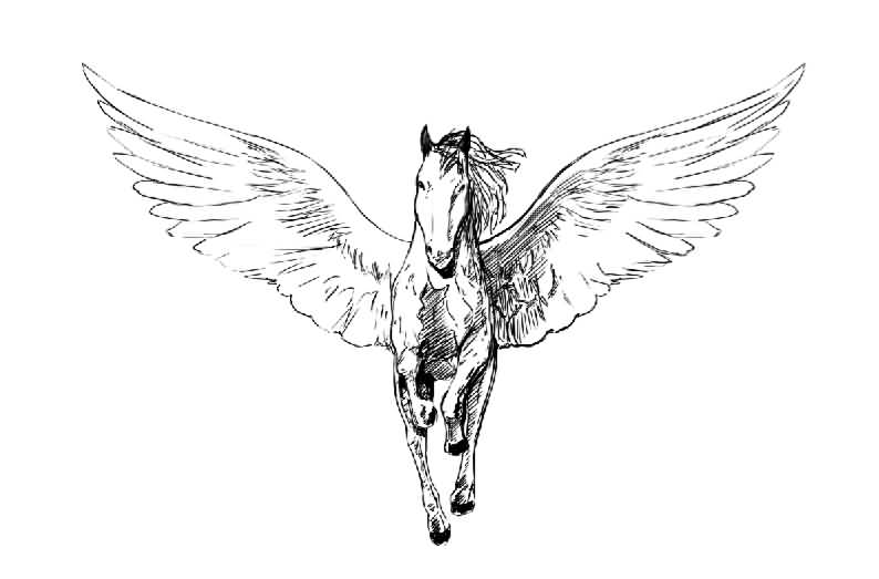 Fast Running Stencil Of Amazing Pegasus Tattoo