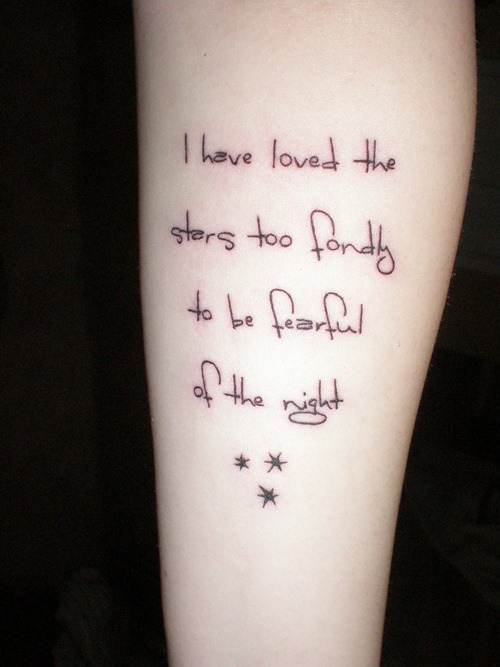 Fearful Love Quote Tattoo