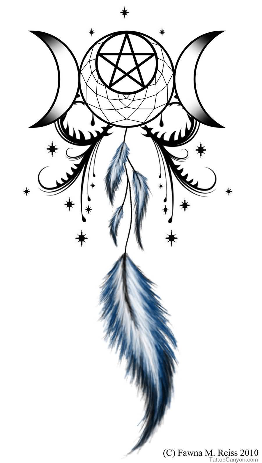 Feather With Pagan God SDymbol Tattoo