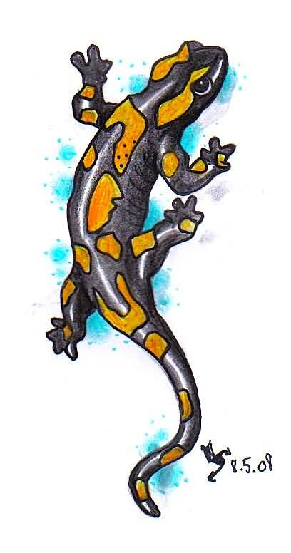 Fire Salamander Tattoo Design Stencil
