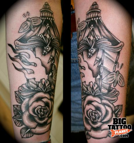 Flame Amazing Lantern And Rose Flower Tattoo