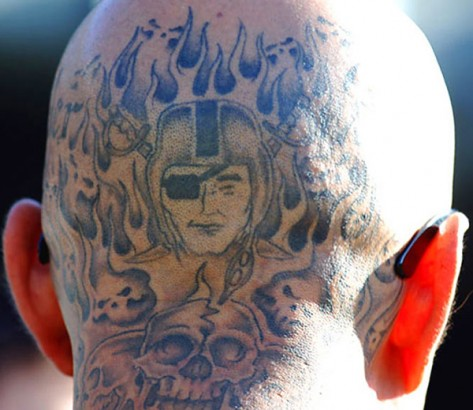 Flame Amazing Oakland Raiders Skull Tattoo On Back Head