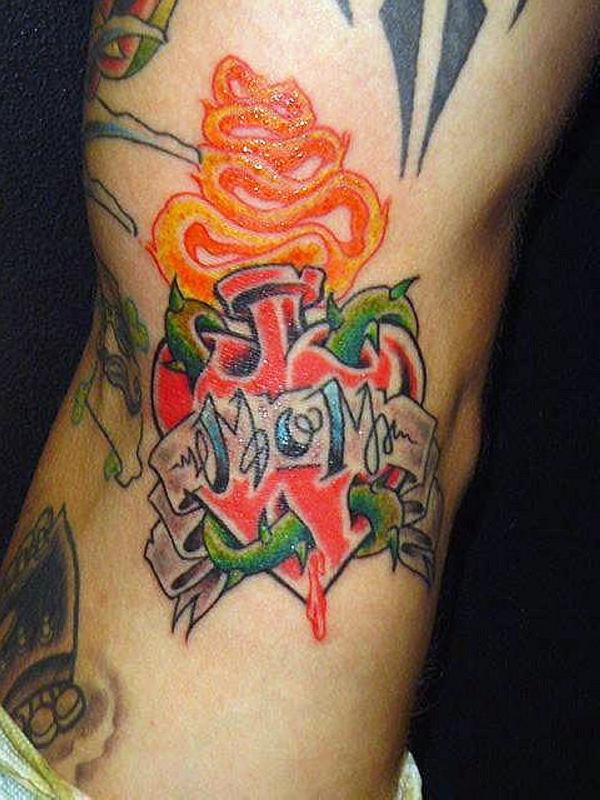 Flame Heart Amazing Banner Mom Text Tattoo