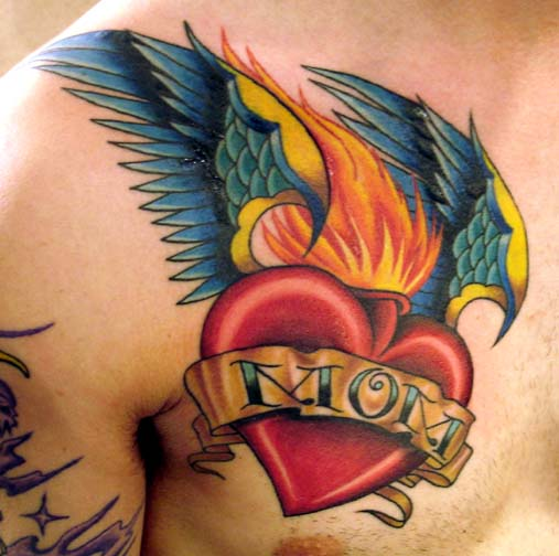 Flame Heart Banner Nice Wings Tattoo On Men Chest