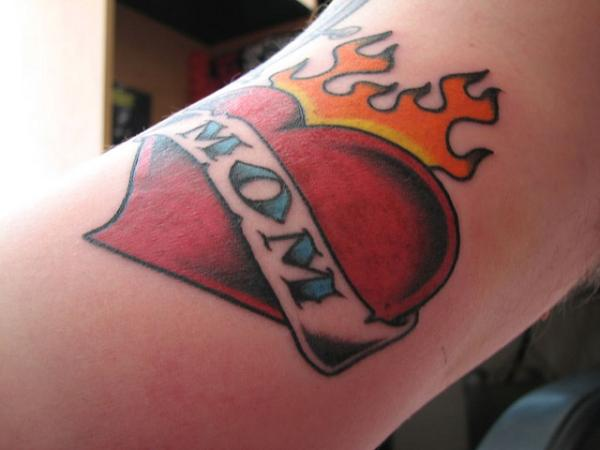Flame Love Heart Mom Banner Tattoo Design (2)