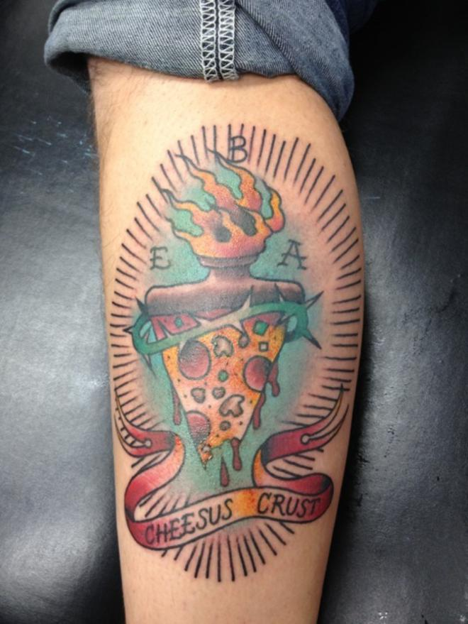 Flame Melting Pizza With Banner Tattoo On Leg