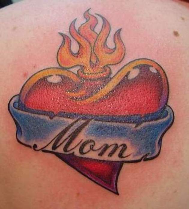 Flaming Heart With Nice Mom Banner Tattoo