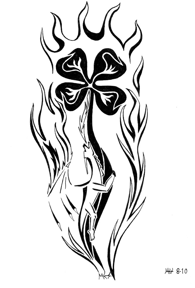 Flaming Nice Shamrock Tattoo