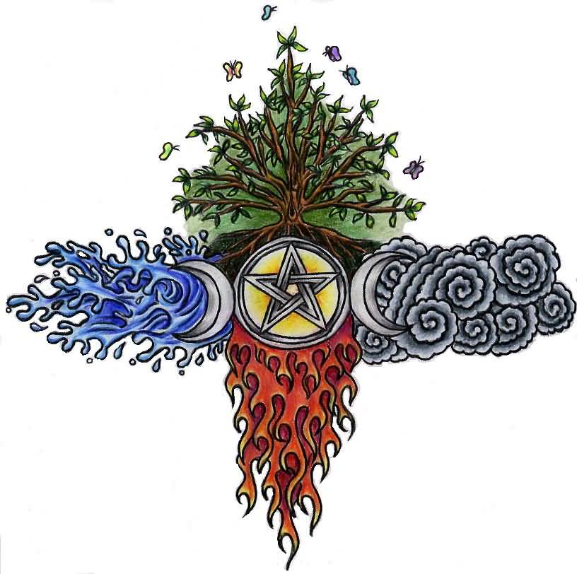 Flaming Pagan Star Tattoo With Half Moon And Tree