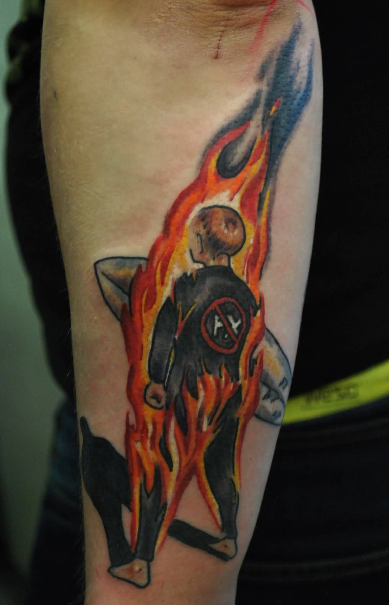 Flaming Punk Men Tattoo Design For Forearm Sleeve