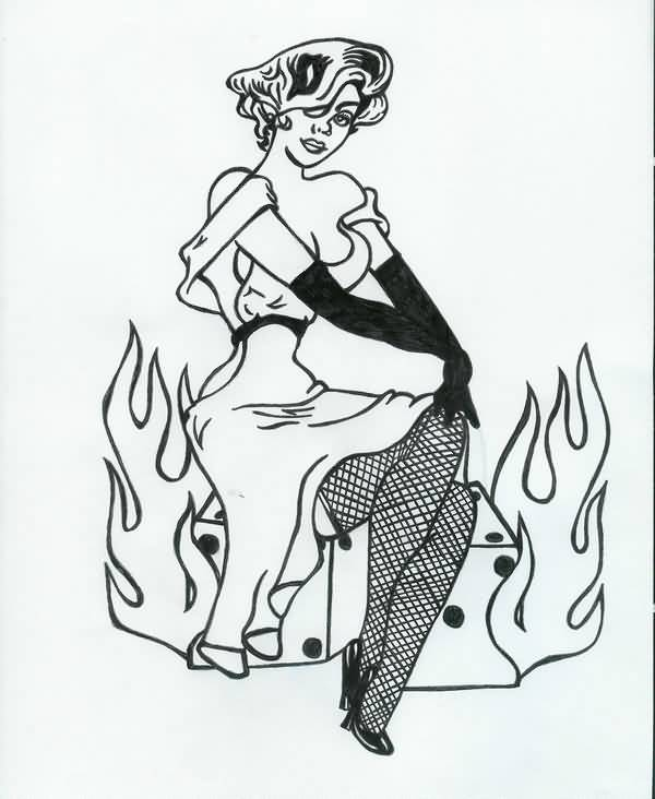 Flaming with Lady Luck Pin Up Girl Tattoo Stencil