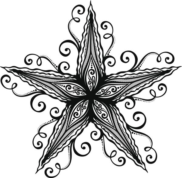 Flower Sea Creature Starfish Tattoo Stencil