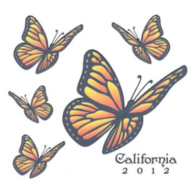 Flying Amazing Monarch Butterflies Tattoo Design