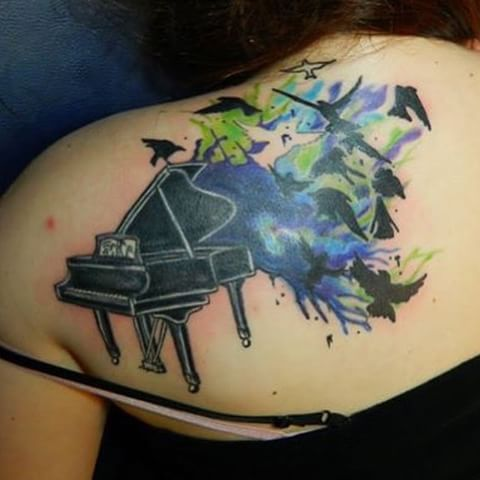 Flying Birds With Nice Grand Piano Tattoo On Upper Back