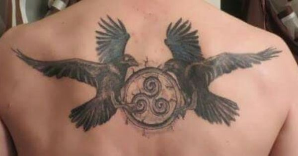 Flying Birds with Nice Pegan Symbol Tattoo On Back