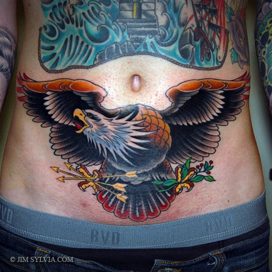 Flying Eagle And Golden Arrows Tattoo On Men Belly