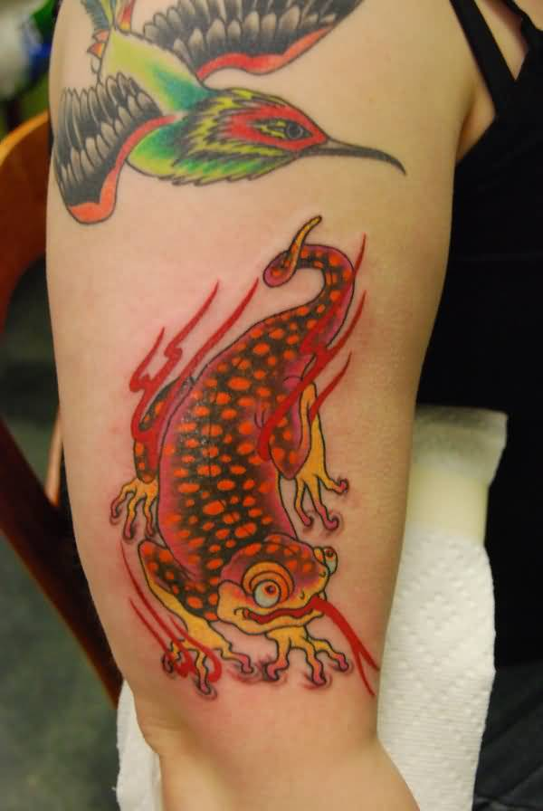 Flying Hummingbird And Nice Cartoon Salamander Tattoo