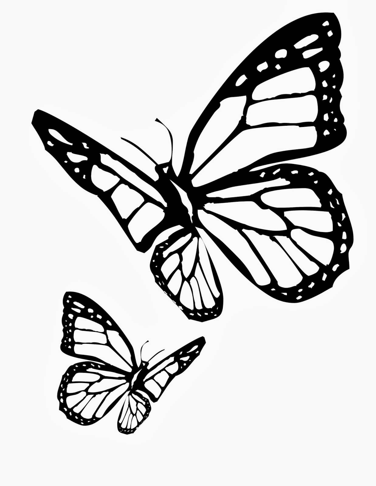 Flying Monarch Butterflies Stencil Tattoo Design