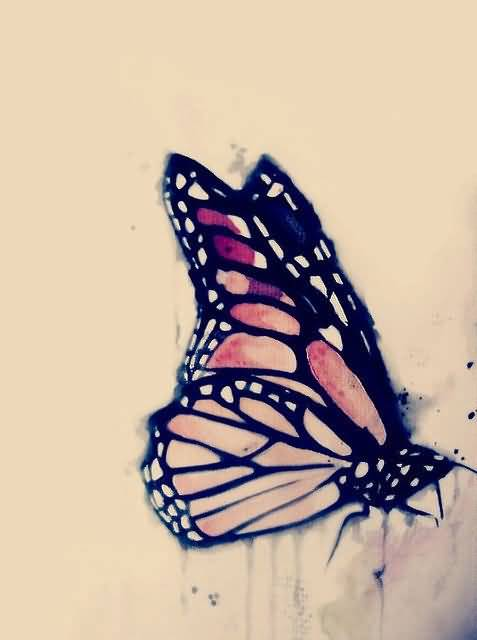 Flying Monarch Butterfly Tattoo Design Stencil