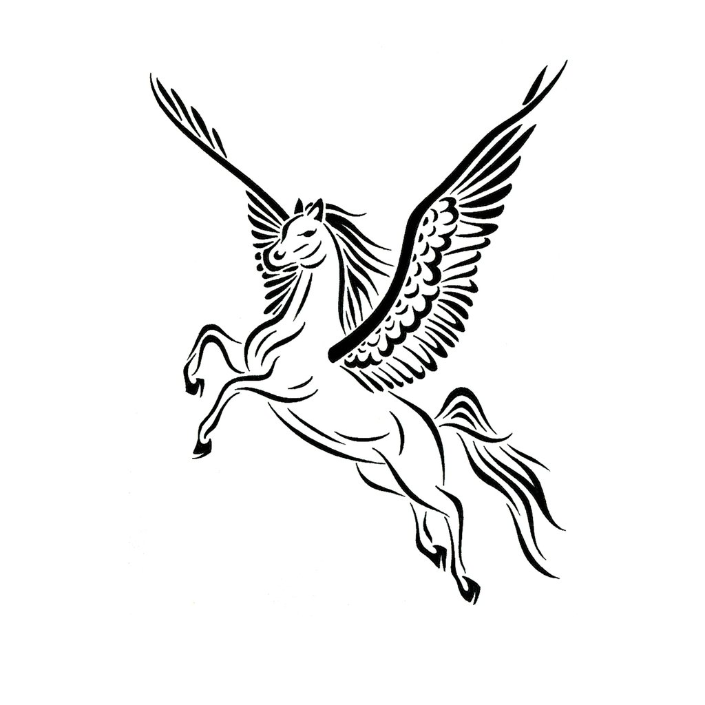 Flying Nice Black And White Ink Pegasus Tattoo Design