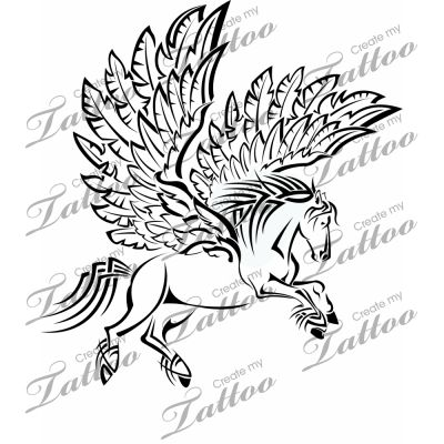 Flying Nice Pegasus Tattoo Design Stencil